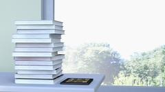 E-reader and stack of book lying on a table in front of a window, 3D Rendering Stock Illustration