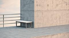 Bench at observation point, 3D Rendering Stock Illustration