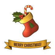 Christmas sock icon - stock illustration