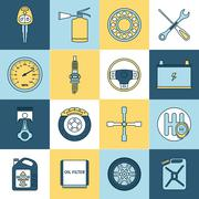 Car parts icons flat line - stock illustration