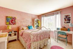 bedroom interior in light pink color - stock photo