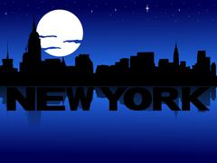 New york skyline reflected with text and moon illustration Piirros