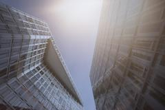 Germany, Hamburg, modern architecture, high-rise buildings against the sun - stock photo