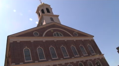 Low Angle of Faneuil Hall in Boston Stock Footage