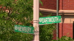 Newbury Street Sign in Boston Stock Footage