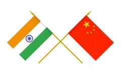 Stock Illustration of flags, china and india