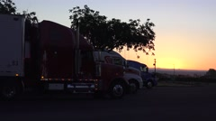 Big rig truck at sunrise, time to sleep Stock Footage