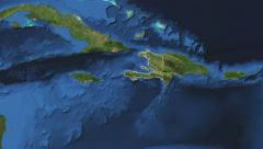 Haiti. 3d earth in space - zoom in on Haiti contoured 4k - stock footage