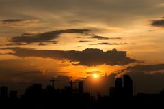 City scape on sunset Stock Photos