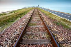 straight railway perspective - stock photo