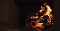 Slow motion Fireplace burning. Cozy background. Graded from 4k RAW Stock Footage