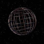 Wire Globe in Starry Sky Stock Illustration
