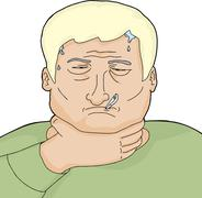 sick blond man - stock illustration