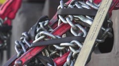 Big rig tie down chains Stock Footage