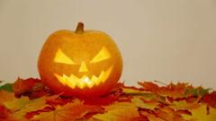 Halloween pumpkin on autumn leaves Stock Footage