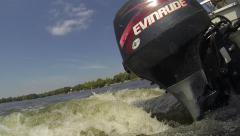 Boat Motor in Water Driving Pontoon Stock Footage