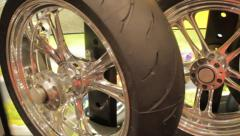 Motorcycle Chrome Wheels- Rims and Tires Stock Footage