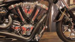 V Twin Motorcycle- Slider Shot at Trade Show Stock Footage