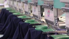 Embroidery Multi-Head Machine at Work Stock Footage