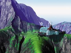 Futuristic Building with Windmills Sitting on Mountain Top Stock Illustration