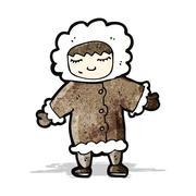 Stock Illustration of cartoon man in winter fur coat