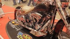 Custom Motorcycle Slider Shot in HD Stock Footage