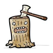 Stock Illustration of cartoon axe in tree stump