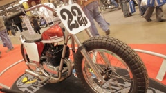 Flat Track Bike on Display- HD Slider Shot with Motion Stock Footage
