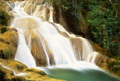 Agua Azul Waterfall and Rocks, Agua Azul National Park, Chiapas, Mexico - stock photo
