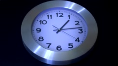 Black Wall Clock - Reverse Timelapse Stock Footage