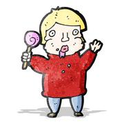 Stock Illustration of cartoon greedy boy