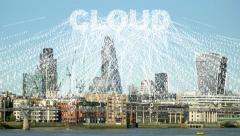 Streams of data collected by the cloud. Stock Footage