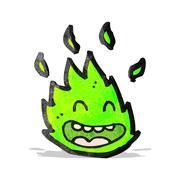 Stock Illustration of cartoon green flame spirit