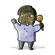cartoon greedy boy - stock illustration
