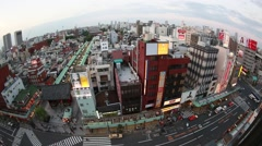 Fish-eye above view of Senso-ji temple and Nakamise street in Asakusa, Tokyo, Stock Footage
