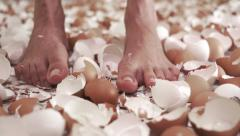 Wiggling Toes In Eggshells Dolly Stock Footage
