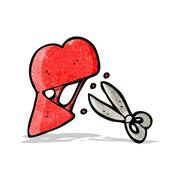 Stock Illustration of cartoon scissors cutting heart symbol