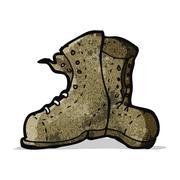 cartoon old work boots - stock illustration