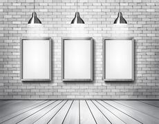 White brick show room with spotlights. vector. Stock Illustration