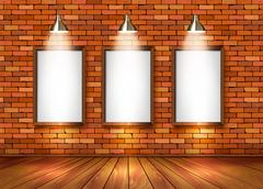 Brick show room with spotlights. vector. Stock Illustration