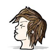 cartoon profile face - stock illustration