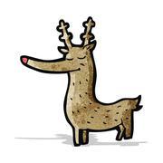 cartoon rudolf red nosed reindeer - stock illustration