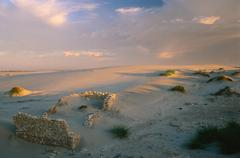 Stock Photo of Ruins of Stone House in Dunes, Boulderbaai, West Coast Nat. Pk., Northern Cape,