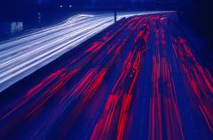 Traffic on Highway at Night, Los Angeles, California, USA Stock Photos