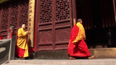 China Monks in Shanghai Stock Footage