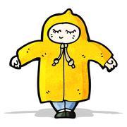 Cartoon person in raincoat Stock Illustration