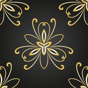 Floral Seamless Vector Pattern. Orient Abstract Background - stock illustration