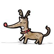 cartoon red nosed reindeer - stock illustration