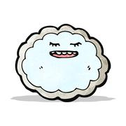 cloud with silver lining cartoon - stock illustration