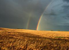 Rainbow & Passing Storm, Near Edmonton, Alberta, Canada Kuvituskuvat